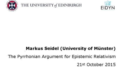 Thumbnail for entry Markus Seidel: The Pyrrhonian Argument for Epistemic Relativism