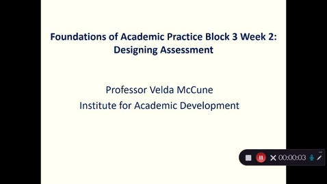 Thumbnail for entry PGCAP Block 3 Designing Assessment