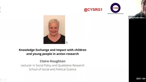 Thumbnail for entry Cross-college Seminar Series: Engaging Children and Young People – Seminar 4 | 21 April 2021 (Claire Houghton)