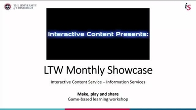 LTW Monthly Showcase – Make, Play and Share – Interactive