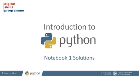 Thumbnail for entry Introduction to Python Notebook 1