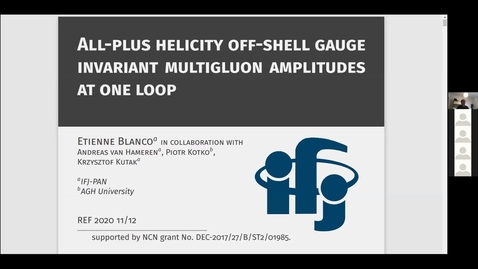 Thumbnail for entry REF2020: Etienne Blanco- All-plus helicity off-shell gauge invariant multigluon amplitudes at one loop