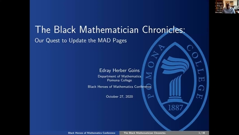 Thumbnail for entry Black Heroes of Mathematics Conference: Professor Edray Goins (Pomona College)