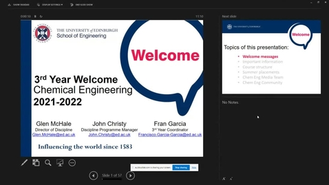 Thumbnail for entry Welcome Back Year 3 Chemical Engineering Programmes 2021