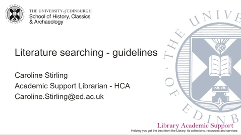Thumbnail for entry Literature searching guidelines - HCA (online)
