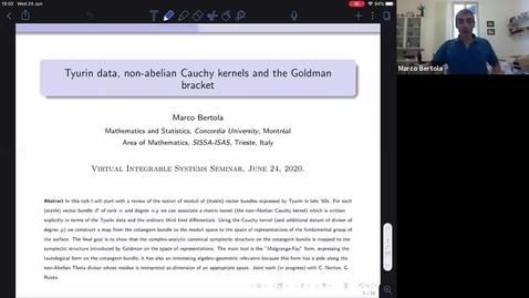 Thumbnail for entry Tyurin data, non-Abelian Cauchy kernels and the Goldman bracket - Marco Bertola