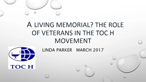 Thumbnail for entry Linda Parker - the role of veterans in the Toc H movement