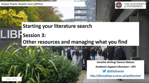 Thumbnail for entry GHPU: Introduction to Literature Searching (3)