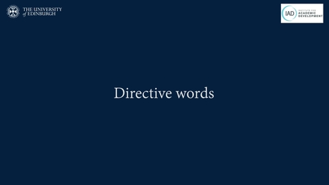 Thumbnail for entry IAD Directive words handout - BSL translation