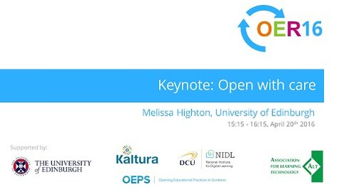 Thumbnail for entry Melissa Highton: Open with care [#OER16]