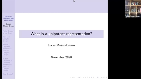 Thumbnail for entry November 25 Lucas Mason-Brown What is a unipotent representation