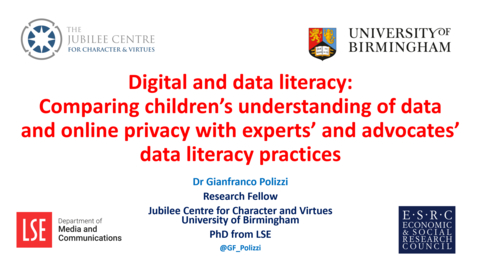 Thumbnail for entry DE Seminar: Dr Gianfranco Polizzi 'Digital and Data Literacy'