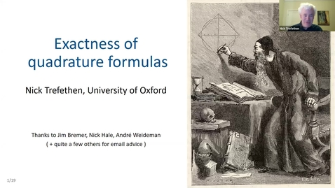 Thumbnail for entry Nick Trefethen 14 December Exactness of Quadrature Formulas