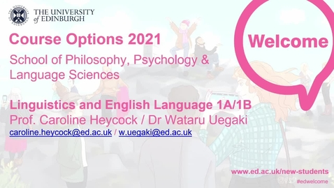 Thumbnail for entry Linguistics and English Language first year course options