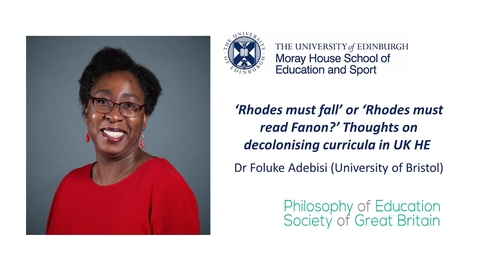 Thumbnail for entry Decolonising the Curriculum in HE: Dr Foluke Adebisi- 21 January 2021