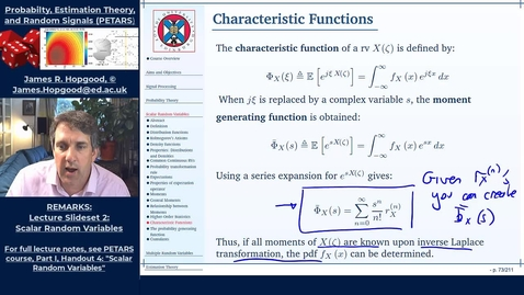 Thumbnail for entry Topic 25: Characteristic, Moment, Probability, and Cumulant Generating Functions (PETARS, Chapter 4)