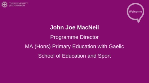 Thumbnail for entry Primary Education with Gaelic Offer Holders 2020
