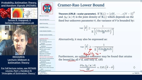 Thumbnail for entry Topic 46: Cramer-Rao Lower Bound (PETARS, Chapter 6)