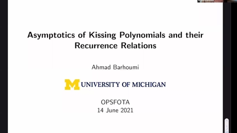 Thumbnail for entry Asymptotics of Kissing Polynomials and their Recurrence Relations - Ahmad Barhoumi