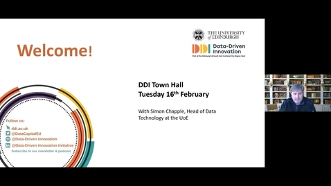 Thumbnail for entry DDI Town Hall Tuesday 16th February  2021 with Simon Chapple