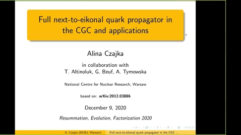 Thumbnail for entry REF2020: Alina Czajka- Full next-to-eikonal quark propagator in the CGC and applications