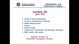 Thumbnail for entry Blockchains and Distributed Ledgers - Lecture 5 (part II/II)