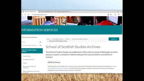 Thumbnail for entry Finding material from The School of Scottish Studies Archive Online