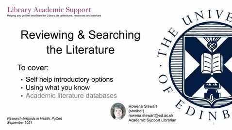 Thumbnail for entry Reviewing and searching the literature 1