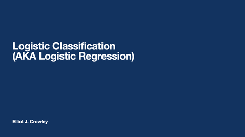 Thumbnail for entry ML7: Logistic Classification