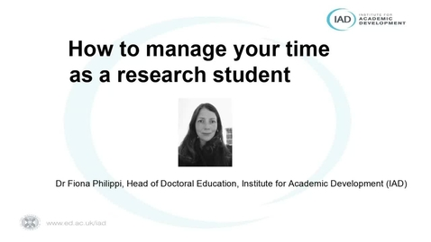 Thumbnail for entry  (PGR Only) How-to manage your time as a research student