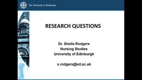 Thumbnail for entry MSc Research Questions: Part 1