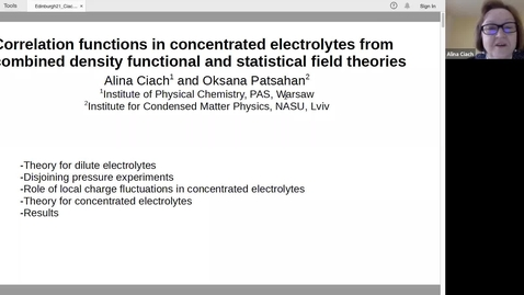 Thumbnail for entry Correlation functions in concentrated electrolytes from combined density  functional and statistical field theories - Alina Ciach