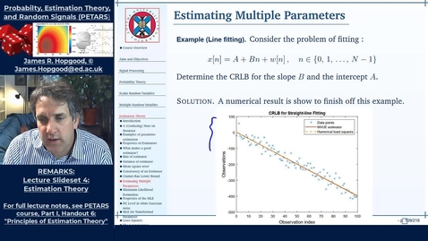 Thumbnail for entry Topic 47: Cramer-Rao Lower Bound for Parameter Vectors (PETARS, Chapter 6)