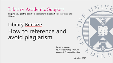 Thumbnail for entry Library Bitesize - How to reference and avoid plagiarism - March 2021