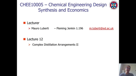 Thumbnail for entry Lecture 12 - Complex Distillation Arrangements II