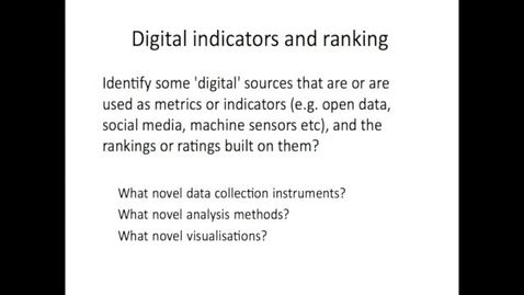Thumbnail for entry EDR 2016 Week 2 Metrics and Indicators part 3 Digital Indicators and ranking