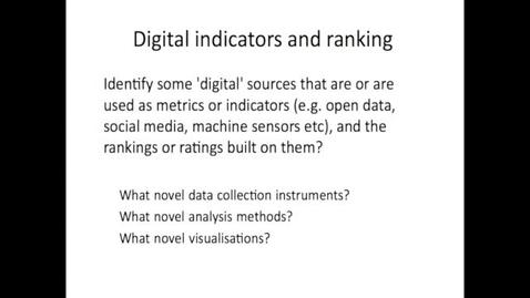 Thumbnail for entry EDR 2016 Week 2 Metrics and Indicators part 3 Digital Indicators and ranking