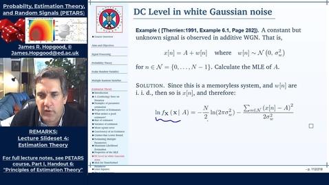 Thumbnail for entry Topic 48: Maximum Likelihood Estimation (PETARS, Chapter 6)