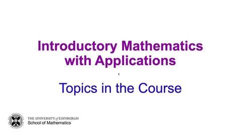Thumbnail for entry Mathematics: Introductory Mathematics with Applications