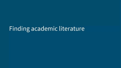 Thumbnail for entry IAD Finding Academic Literature - for CSE PGR (26 Jan 2021)