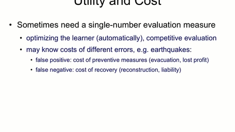 Thumbnail for entry Classification Cost and Utility