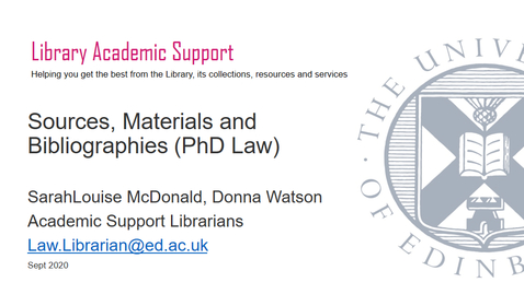 Thumbnail for entry PhD Law -Sources, Materials & Bibliography, Sept 2020