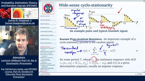 Thumbnail for entry Topic 64: Wide-sense periodic, wide-sense cyclo-stationary, and quasi-stationary processes (PETARS, Chapter 8)
