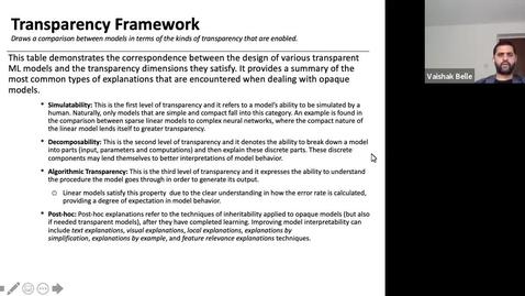 Thumbnail for entry XAI Lecture Recording - Framework for XAI (Part 3)