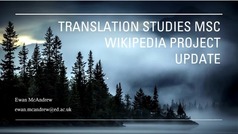 Thumbnail for entry Translation Studies MSc - Wikipedia project
