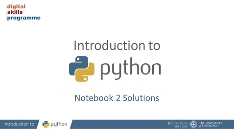 Thumbnail for entry Introduction to Python Notebook 2