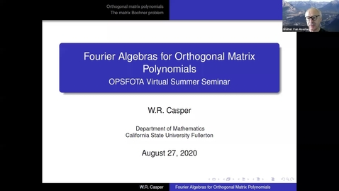 Thumbnail for entry Fourier Algebras for Orthogonal Matrix Polynomials - W Riley Casper
