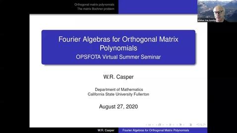 Thumbnail for entry Fourier Algebras for Orthogonal Matrix Polynomials - W Riley Casper