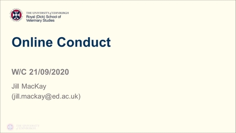 Thumbnail for entry Professional Skills for GAFS (1)- Week 1 - Online Conduct