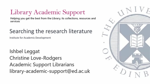 Thumbnail for entry IAD (PGT - Online) Searching Research Literature